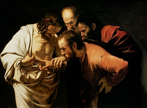 St. Thomas touching Jesus' wounds
